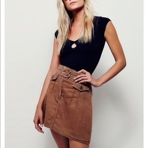 Free people braided pocket tan baby mini skirt